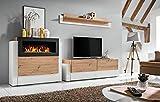 Wohnwand Paula Schrankwand mit Bio Kamin in Farbe Weiß+Artisan Anbauwand Modern 21