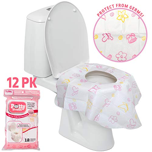 Disposable Toilet Seat Covers for Kids & Adults, 12 Pack - Protect From Public Toilet Germs While Potty Training & More - Extra Large, Waterproof, Portable, Individually Wrapped - Pink/Floral