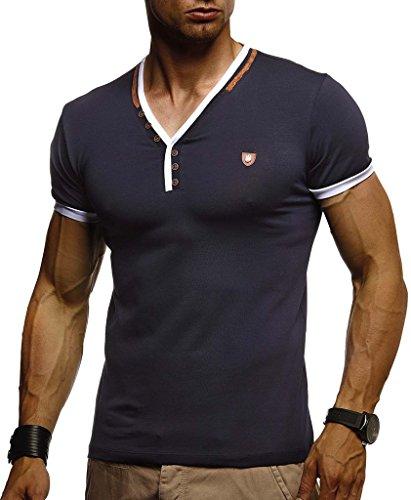 Leif Nelson Herren T-Shirt V-Ausschnitt Sweatshirt Longsleeve Basic Shirt Hoodie Slim Fit LN1330; Größe L, Dunkel Blau