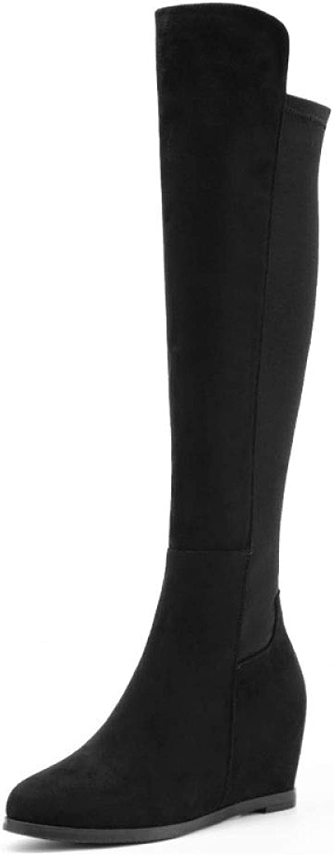 AKOI Frauen Kniehohe Stiefel Schwarz Weich Stretch über Dem Knie Hoch Keil Stiefel