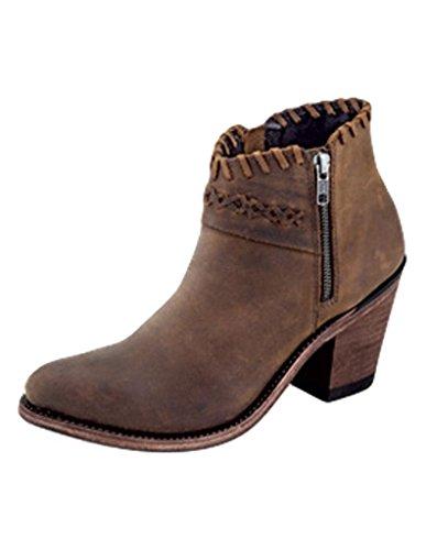 Old West Women's Cross Stitch Short Western Boot Round Toe Brown 10 M