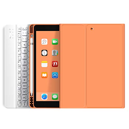 KenKe iPad Keyboard Case 9.7 inch for New iPad 2018 2017 case with Pencil Holder iPad Air 2 & 1 Detachable Wireless Bluetooth Keyboard Cover iPad 5th/6th Generation (Orange)