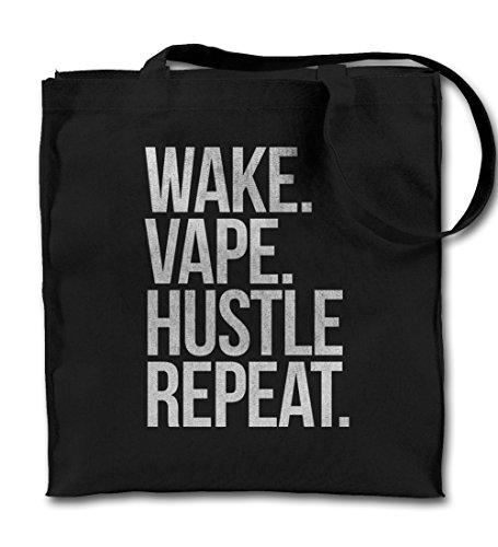 Wake Vape Hustle Repeat E-Cig Vaping Cloud Chaser Schwarz Canvas Tote Tragetasche, Tuch Einkaufen Umhängetasche
