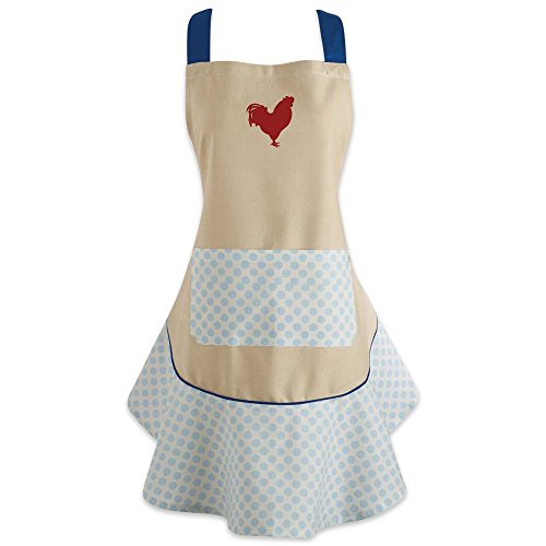 DII 100% Cotton, Machine Washable, Holiday Theme Ruffle Apron, Kitchen Basic, Cooking, Baking, Crafting and More, Thanksgiving Gift - Red Rooster