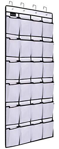 Over The Door Shoe Organizer, Clear Hanging Shoe Bag Closet Organizer, Fabric Shoe Rack Holder Storage, 24 Large Mesh Pockets Shoe Hanger - White