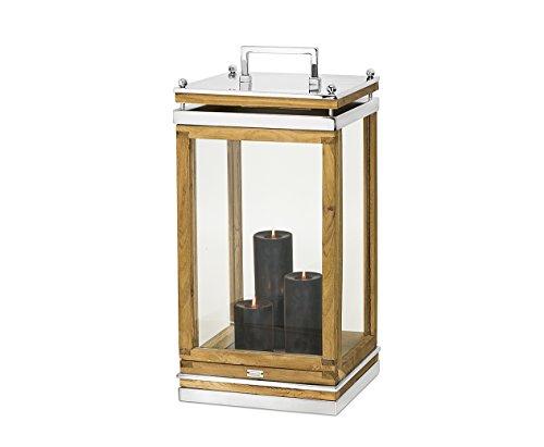 """EDZARD Laterne """"Huntsville"""" aus Holz und Edelstahl, Höhe 66 cm, Windlicht mit Henkel"""