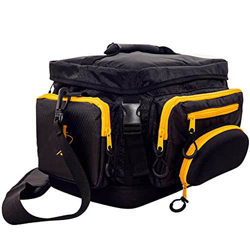 Fishing Tackle Bag. Black with Waterproof Molded Base for Outdoor Fishing Gear and Equipment. Soft Fishing Bag Suitable for 3600 Fishing Tackle Box.