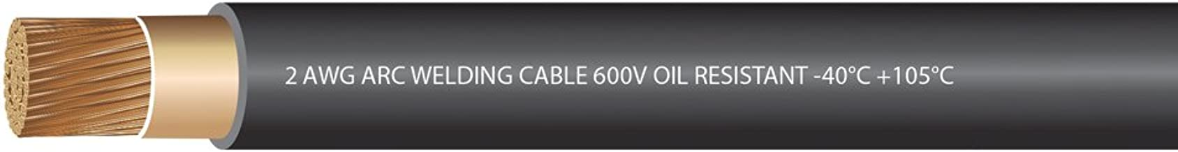 EWCS 2 Gauge Premium Extra Flexible Welding Cable 600 VOLT - Black - 25 Feet - Made in the USA
