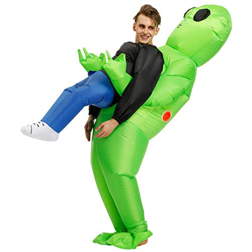 Dragon Honor Green Alien Carrying Human Costume Halloween Carnival Costumes Adult & Kids (Adult)