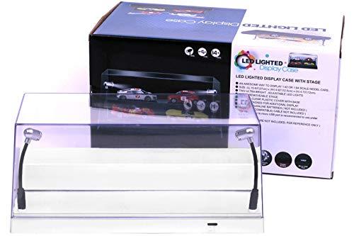 Triple9 Plexiglas Vitrine / Show Case mit LED Beleuchtung für Diecast Modellautos, Maßstab 1:43, weißer Boden