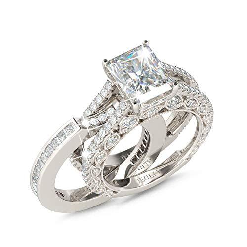 Jeulia Juego de anillos de compromiso para mujer de plata 925 de 5,2 quilates con circonita cúbica de corte radiante y piedras laterales plateado