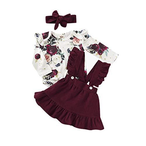 T TALENTBABY Neugeborenes Baby Mädchen Langarm Kleidung Outfit Set 3 Stück Rüschen Druck T-Shirt Top + Rüschen Hosenträger Rock + Schleife Stirnband für 0-24 Monate alt, weiß rot, 6-12 Monate