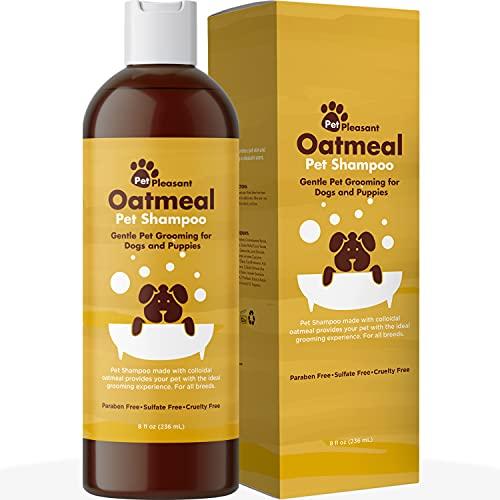 Champú desodorizante para perros para piel seca, champú de avena coloidal hidratante para perros y suministros de aseo de perros, champú suave para mascotas para perros y perros para olores de mascotas y suministros para cachorros