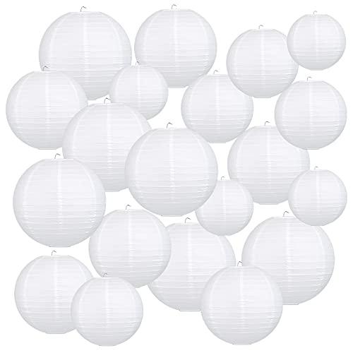 LIHAO 20er weiße Papier Laterne Lampions rund Lampenschirm Hochtzeit Dekoration Papierlaterne (Verschiedene Größen)