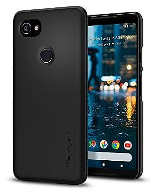 Spigen Thin Fit Google Pixel 2 XL Case with SF Coated Non Slip Matte Surface for Excellent Grip for Google Pixel 2 XL (2017) - Black