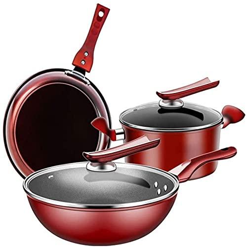 DJDLLZY 3-Piezas de Templado Antiadherente de Utensilios de Cocina, Sopa de Olla | Wok | Pan | con Vidrio Templado Las Tapas de Hierro Fundido for freír sartén Conjunto