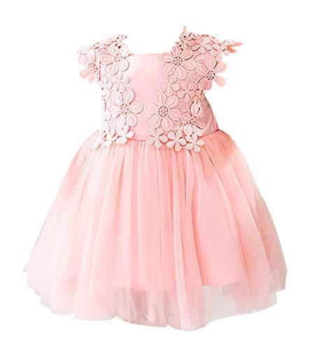 Mädchen Neugeborenes Geburtstag Hochzeitskleider - Spitzenkleider Taufe Hundert Tage Party Prinzessin Rock Sommer 12M(12-15Monat)