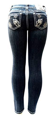 LA Idol Jean Classic Rhinestone Studded Dark Blue Denim Bootcut/Skinny Jeans Stretch (7, LA Idol Dark Blue Skinny 4083NR)