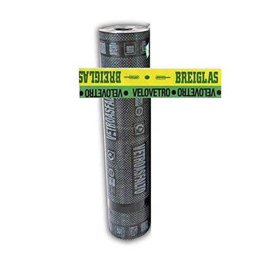 Guaina Bituminosa Velo Vetro Impermeabilizzante - ROTOLO DA 10 METRI - alta prestazione - Colore Nero