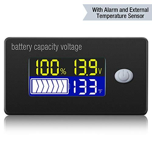 Medidor de Voltaje de Capacidad de Batería con Alarma y Sensor de Temperatura Externo Monitor de Temperatura de 0 - 179 ℉ Medidor de Batería de Litio Ácido Sólido de 12V 24V 36V 48V 60V 72V
