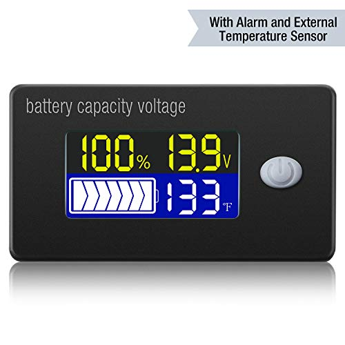 Misuratore di Tensione di Capacità di Batteria con Allarme e Sensore di Temperatura Esterno 0 - 179 ℉ Monitoraggio di Temperatura 2V 24V 36V 48V 60V 72V Indicatore di Livello di Batteria