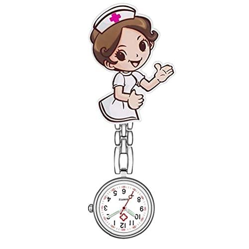 Yililay Ronda Reloj de la Enfermera Reloj de Bolsillo de Cuarzo Broche de Clip de la Enfermera del Doctor analógico Reloj, 1PCS Clip de Correa de Acero Inoxidable