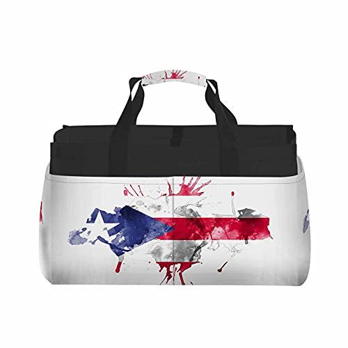 HOSNYE Watercolor Flag Tote Bag Blue Red Grey Spray Ink Art Dirty Drop Graffiti Liquid Color Splash Paint Basket