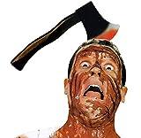 KIRALOVE Diadema con Hacha - Hacha - Efecto Sangriento - Zombie - Horror - Disfraces - Halloween - Carnaval - Idea de Regalo Original Horror Zombie