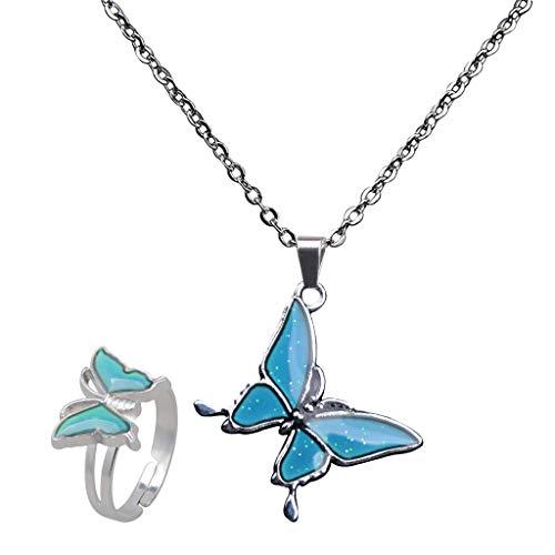 F Fityle Mariposa Color de Humor Que Cambia El Collar Anillos de La Joyería Juego de 2 Piezas Significado del Color