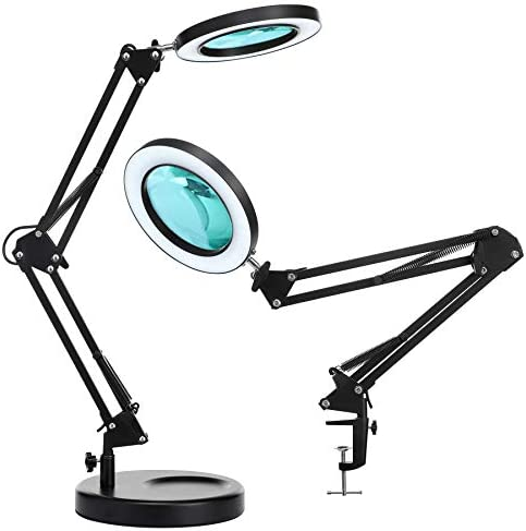 Magnifier Desk Lamp NUEYiO 2 in 1 Dimmable LED Magnifying Lamp with Clamp and Practical Sturdy product image