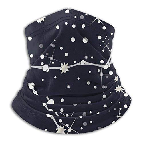 ShiHaiYunBai Tour de Cou Cagoule Microfibre Chapeaux Tube Masque Visage, Fleece Neck Warmer - Zodiac Constellations Neck Gaiter Tube, Bandana, Headband & Beanie