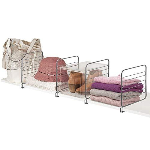mDesign 4er-Set Regaltrenner für den Kleiderschrank – praktisches Kleiderschranksystem aus Metalldraht – nützliches Regalsystem ohne Bohren – grau