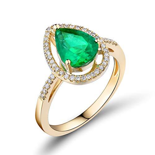 AmDxD no-metal-stamp (Fashion only) oro amarillo 18 ct pera Green Emerald