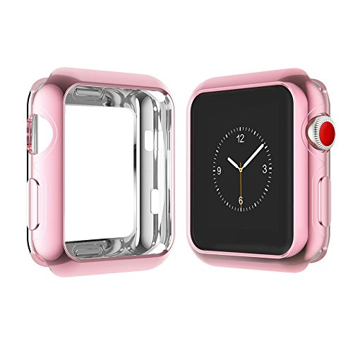 Apple Watch Case for Series 3, Series 2, Series 1 42mm, Icesnail Apple Watch Plate Soft Slim Protective Cover Bumper for iWatch Nike+, Sport, Edition All Models (42rose)