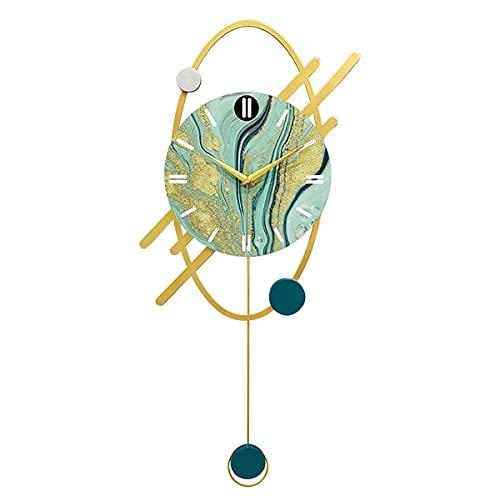 Horloge Murale Moderne, Horloge Murale de Texture de marbre doré, Horloge Murale silencieuse à Quartz 20 Pouces Horloge décorative Horloge à Pendule pour Salon, Chambre et Bureau