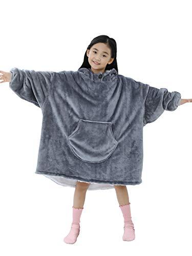 着る毛布 ボーイズ ガールズ キッズ 子供用 フード付 厚手 あったか 防寒 寒さ対策 ルームウェア ふわふわ 裏起毛 パジャマ 部屋着 秋 冬 02 グレー