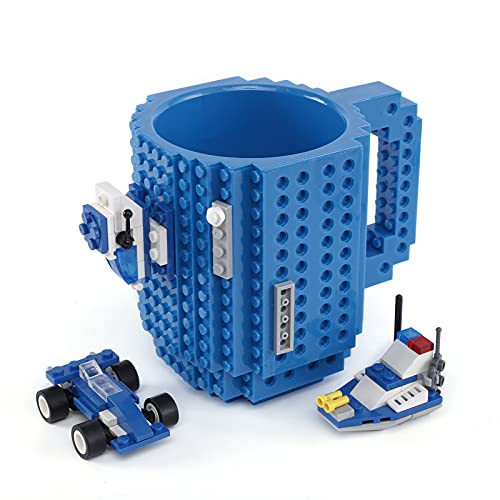 VANUODA Build-on Brick Mug, Buddy Coffee Cup, Santa Gifts Idea for Christmas, Unique Easter Father's Day Halloween Birthday Present for Men Women Dad Him Boy Kid Adult, Compatible with Lego (Blue)