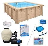 WelaSol Holz Pool Bali Rechteck 2,10 x 2,10 x 0,78 m Technikset | Aufstellpool oder Einbaupool | mit...