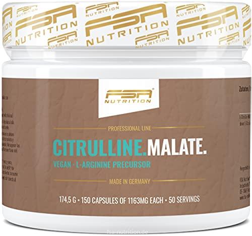 150 cápsulas de L-citrulina-malato altamente dosificada, 1000 mg de L-citrulina-malato por cápsula vegana sin añadidos - de la marca de deporte profesional FSA Nutrition, fabricado en Alemania