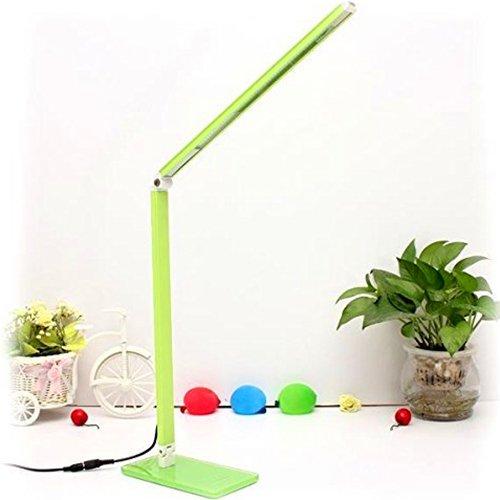 ELINKUME LED Schreibtischlampe Kinder 7W Schreibtischleuchte led Dimmbar Grün Faltbar Tischleuchten mit Kaltes weiß für Lesen,Lernen
