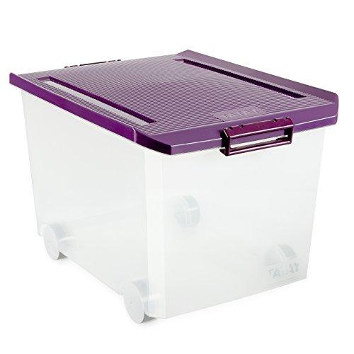 Tatay 1150320 Caja de Almacenamiento Multiusos Ruedas 60 l de Capacidad plástico Polipropileno Libre de bpa Transparente con Tapa, Morada, 40 x 56,5 x 36,2 cm