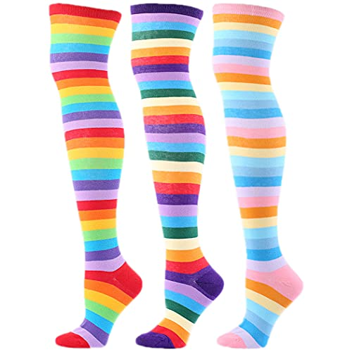 Licogel Novelty Casual Fashion Long Breathable Wicking Soft Compression Thigh High Socks Colorful 3 Pairs Novelty Fashion