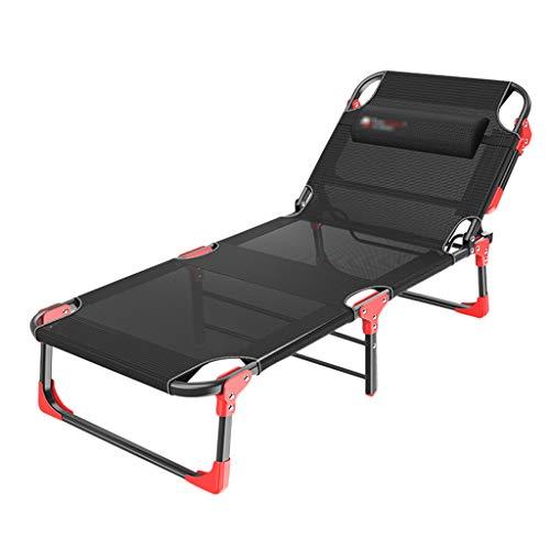 Folding bed MMM Klappbett 4 Feilen Verstellbare Rückenlehne Verdickung Matratze Langes Einzelbett Einfaches Mittagessen Bett Büro Erwachsene Siesta Begleitbett Multifunktions-Lounge-Sessel