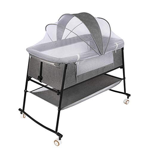 Baby Bassinets, Baby Bedside Sleeper, Easy Folding Movable Cradle for Newborn Infants, Portable Crib for Travel, Rocking Cradle, with Crib Mosquito Netting, Indoor Outdoor