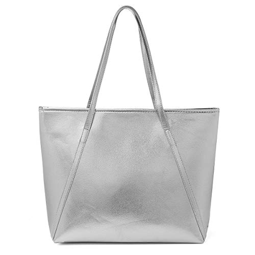 PU Leder Handtasche Damen Gross, OURBAG Schultertasche Damen Handtasche Silber rosa metallic Shopper Silber