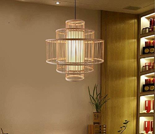 Luminarias, 212, Luz múltiple colgante de tambor de la luz de bambú de la luz de bambú con 39'lámpara de techo de colgante de la barra de cordón ajustable de 39' para la lámpara colgante del corredor