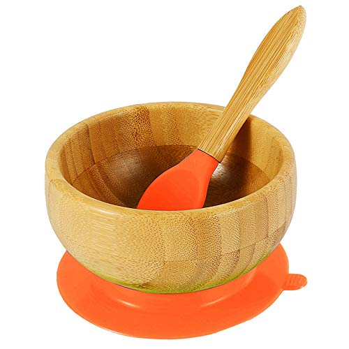 SK Bamboo Kids Bowls with BPA Free Matching Silicone Spoon Set | Suction bowls for Kids, Seniors, Adult – Easy to Clean | Bamboo bowls with Strong Suction for No-Slip and No-Mess Meal | Orange