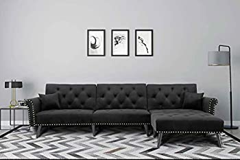 Sofa for Living Room,Velvet Fabric Upholstered Mid Century Sectional Sofa Futon Couches with Reversible Chaise and Adjustable Back Sofa Bed Black