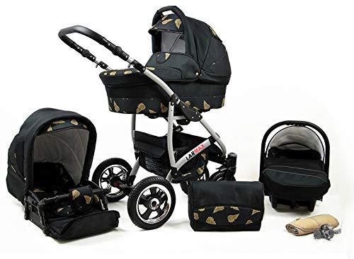Lux4Kids Kinderwagen 3 in 1 Kombi Komplettset mit Autositz Isofix 2in1 Babywanne Babyschale Buggy Buggy Baby Larmax Gold Wings 3in1 mit Babyschale