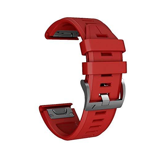 YOOSIDE Fenix 5X Silikon Armband, 26mm QuickFit Weich Wasserdicht Silikon Ersatzarmband Uhrenarmband für Garmin Fenix 5X/Fenix 5X Plus/Fenix 3/Quatix 3/D2 Delta PX/ (rot)